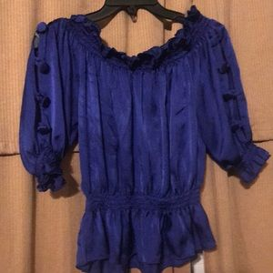 Purple blue ruffle blouse